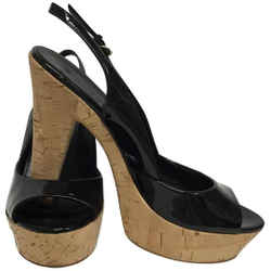 Gucci Black Patent Leather Peep Toe Cork Slingback Platforms Size: EU 36.5 (Approx. US 6.5) Regular (M, B) Item #: 25756968