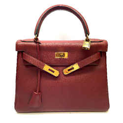 "Hermes Kelly 28cm Rouge ""h"" Togo Leather Gold H/w Retourne Bag"