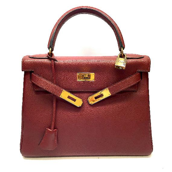 """Hermes Kelly 28cm Rouge """"h"""" Togo Leather Gold H/w Retourne Bag"""
