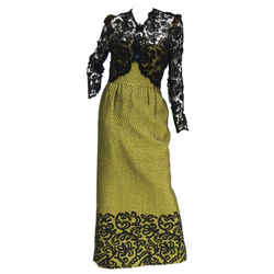 "1980s Gorgeous Oscar De La Renta Gold Green ""dragon Scale"" Brocade Dress"