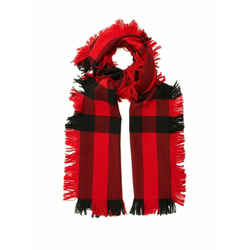 New Burberry Red Black Wool Half Mega Fashion Plaid Check Fringe Scarf 40609881