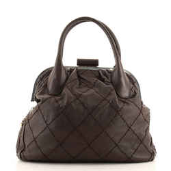Expandable Zip Around Frame Bag Quilted Leather Large