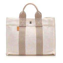 Vintage Authentic Hermes White Canvas Fabric Fourre Tout PM France