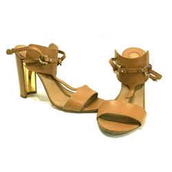 Salvadore Ferragamo Meg High Tan Wrap Leather Heels Shoes Sandals Sz 41 10.5