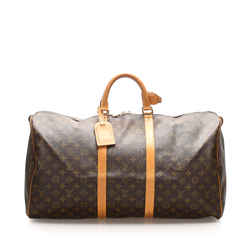 Vintage Authentic Louis Vuitton Brown Monogram Keepall 55 France