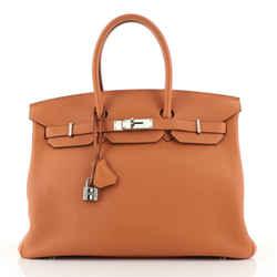 Birkin Handbag Orange H Togo with Palladium Hardware 35