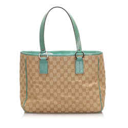 Vintage Authentic Gucci Brown Beige with Green Canvas Fabric GG Tote Bag Italy