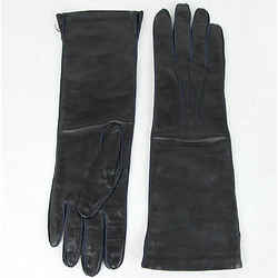 $420 New Bottega Veneta Womens Long Leather Gloves Navy Size 8 304902 4014