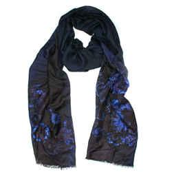 Versace - Long Floral Print Scarf - Lightweight Blue Cashmere Silk Rectangle
