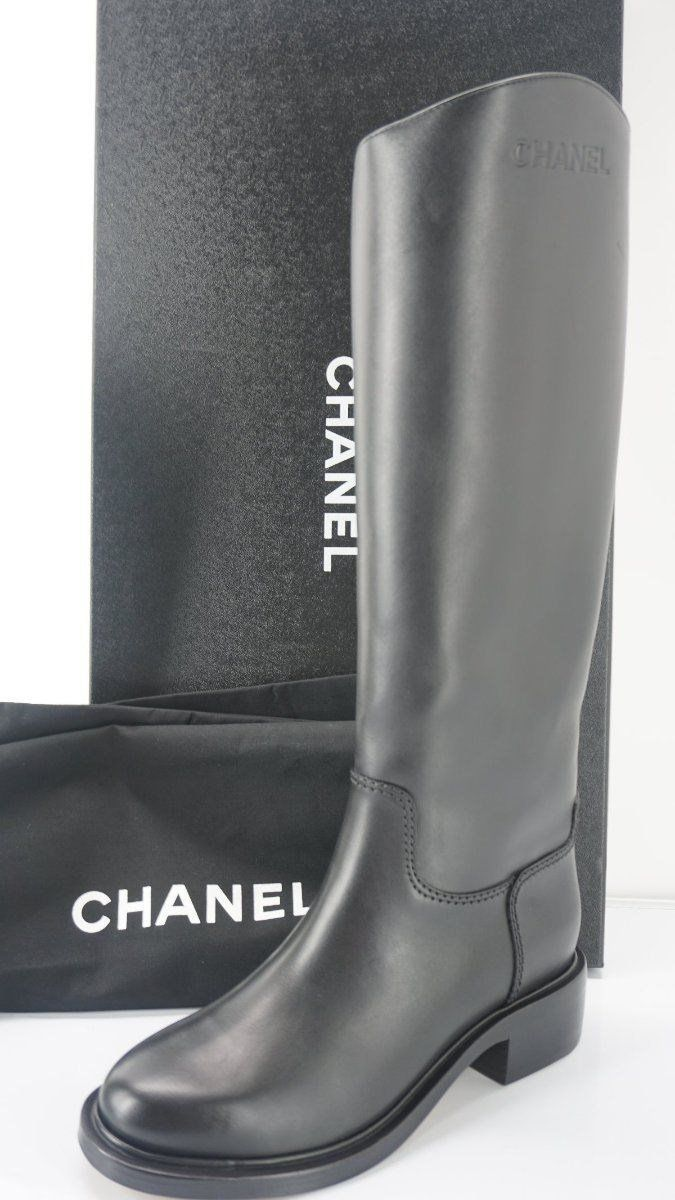 Chanel Black Leather Knee High Riding