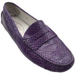 Tod's Purple Snakeskin Leather Loafers