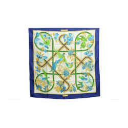 Authentic Hermes Vintage 100% Silk Scarf Caraibes Vauzelles Blue 90cm Carre