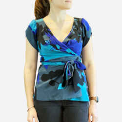 Blue Multicolor Short Sleeve Silk Wrap-top