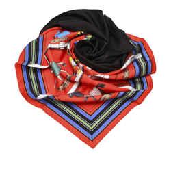 Vintage Authentic Hermes Red Couvertures et Tenues de Jour Silk Scarf France