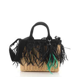 Convertible Fringe Basket Bag Wicker and Woven Straw Small