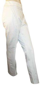 Alberta Ferretti White Satin Peek-A-Boo Ribbon Tuxedo Pants 44IT 10/12 NWOT