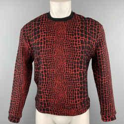 KENZO Size M Red & Black Alligator Cotton Blend Sweatshirt