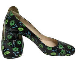 Prada Black Blue and Green Patent Leather Floral Pumps Size: EU 40 (Approx. US 10) Regular (M, B) Item #: 24808679