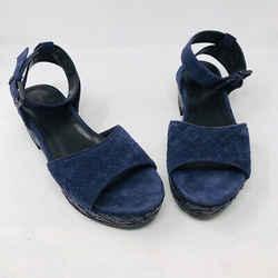 Bottega Veneta 39 Navy Blue Suede Platform Ankle Strap Sandals - 3-377-92319
