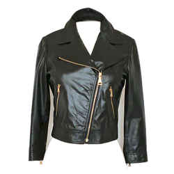 Prada Nappa Leather Cropped Moto Jacket In Black