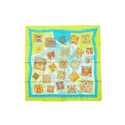 Lime & Multicolor Hermes La Mecanique des Idees Silk Scarf