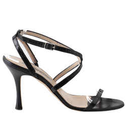 Manolo Blahnik Black Patent Snake Skin Leather Ankle Strap Sandals