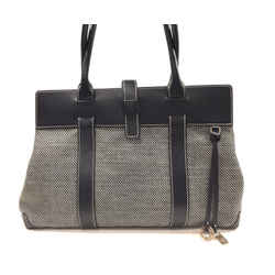 LORO PIANA Black & White Woven Canvas & Leather Globe Satched Hand Bag