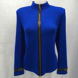 St John Blue Zip Front Jacket 8