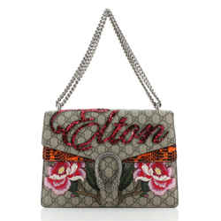 Dionysus Bag Embroidered GG Coated Canvas with Python Medium