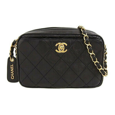Auth Chanel Lambskin Chain Shoulder Bag Black 3 Series Leather