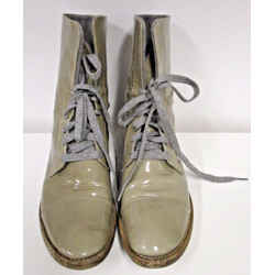 Brunello Cucinelli Mushroom Patent Leather Lace Up Work Boot - Size 37.5