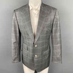 TOM FORD Size 40 Grey Plaid Wool Peak Lapel Sport Coat