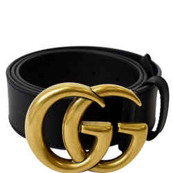 GUCCI Double G Buckle Leather Belt Size 34 Black