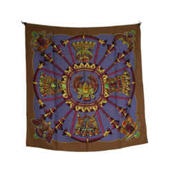 Hermes Egyptian Motif Taupe And Periwinkle Silk Scarf