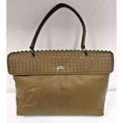 "Bottega Veneta Brown  Smooth Lambskin Leather ""tina"" Top Handle Bag"