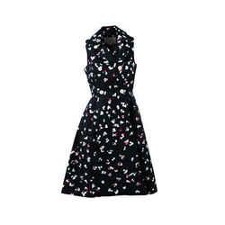 Carolina Herrera NWT Blue Multicolor Floral Print Collared Halter Dress SZ 6