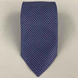 ERMENEGILDO ZEGNA Navy & Blue Dots Silk Tie