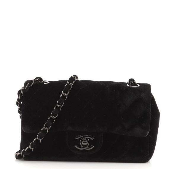 Classic Single Flap Bag Quilted Velvet Mini