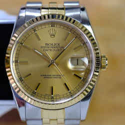 Rolex Datejust 16233 Champagne Dial 18K Fluted Bezel 36mm Watch -ALL FACTORY
