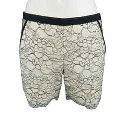 Andrew Gn Size 6 White / Black Wool Blend Floral Lace Shorts