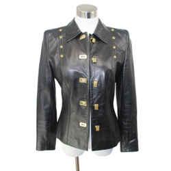 Escada Black Leather Gold Hardware Jacket Sz 4