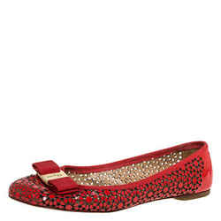 Salvatore Ferragamo Red Patent Leather Laser Cut Ballet Flats Size 37.5