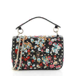 Rockstud Spike Flap Bag Bead Embellished Quilted Leather Medium