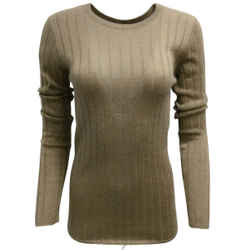 Brunello Cucinelli Sparkle Long Sleeved Ribbed Knit Taupe Sweater