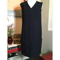 Chanel Sz 38 Navy Blue Boucle Shift 2008  Dress - 2643-9-8120