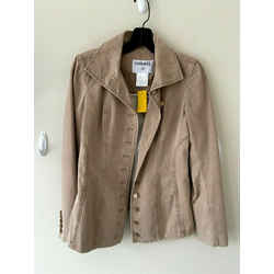 Chanel Tan Cotton-blend Military- Style Jacket Sz Us 6 Fr 38
