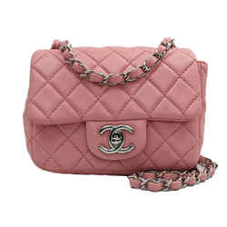 Chanel Pink Lambskin Mini Square Classic Flap
