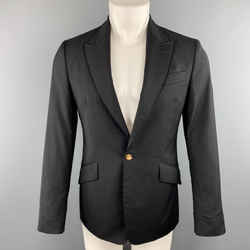 Vivienne Westwood Man Size 36 Black Wool Frayed Peak Lapel Sport Coat