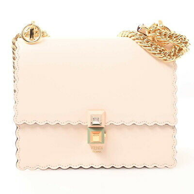 Auth Fendi Canay Small Leather Chain Shoulder Bag Pink