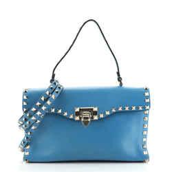 Rockstud Flip Lock Top Handle Bag Leather Small